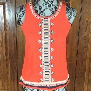 THML for Stitch Fix Orange Embroidered Tank Top